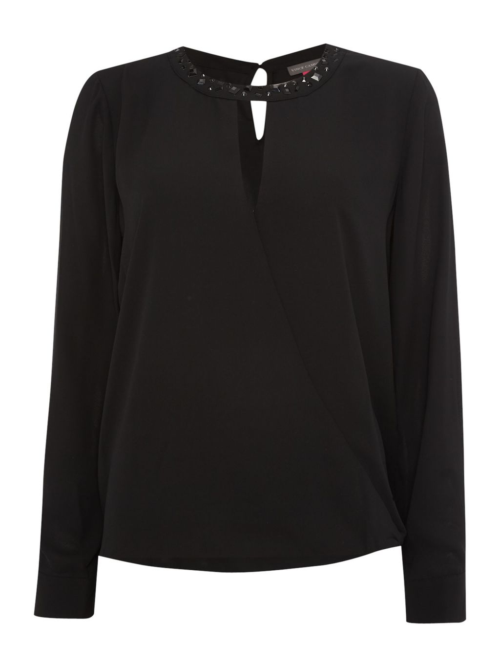 Wrap Front Embellished Neck Top, Black - neckline: v-neck; pattern: plain; predominant colour: black; occasions: evening, occasion; length: standard; style: top; fibres: polyester/polyamide - 100%; fit: body skimming; back detail: keyhole/peephole detail at back; sleeve length: long sleeve; sleeve style: standard; texture group: crepes; pattern type: fabric; pattern size: standard; season: a/w 2015; wardrobe: event