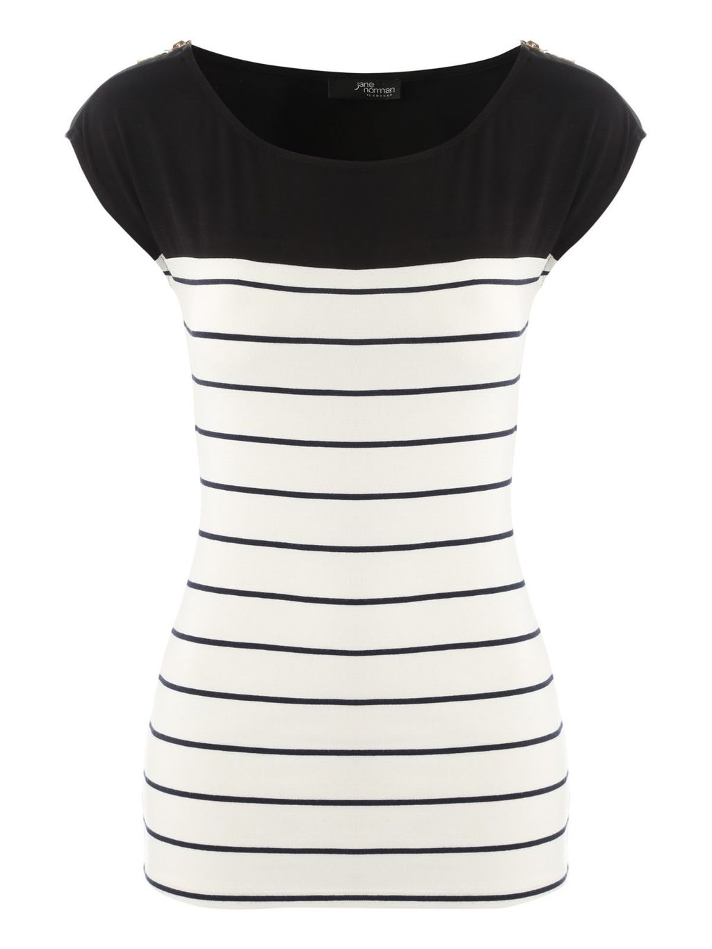 Zip Stripe Top, Multi Coloured - neckline: round neck; sleeve style: capped; pattern: horizontal stripes; secondary colour: white; predominant colour: black; occasions: casual, creative work; length: standard; style: top; fibres: viscose/rayon - stretch; fit: body skimming; sleeve length: short sleeve; trends: monochrome; pattern type: fabric; texture group: jersey - stretchy/drapey; pattern size: big & busy (top); season: a/w 2015; wardrobe: basic