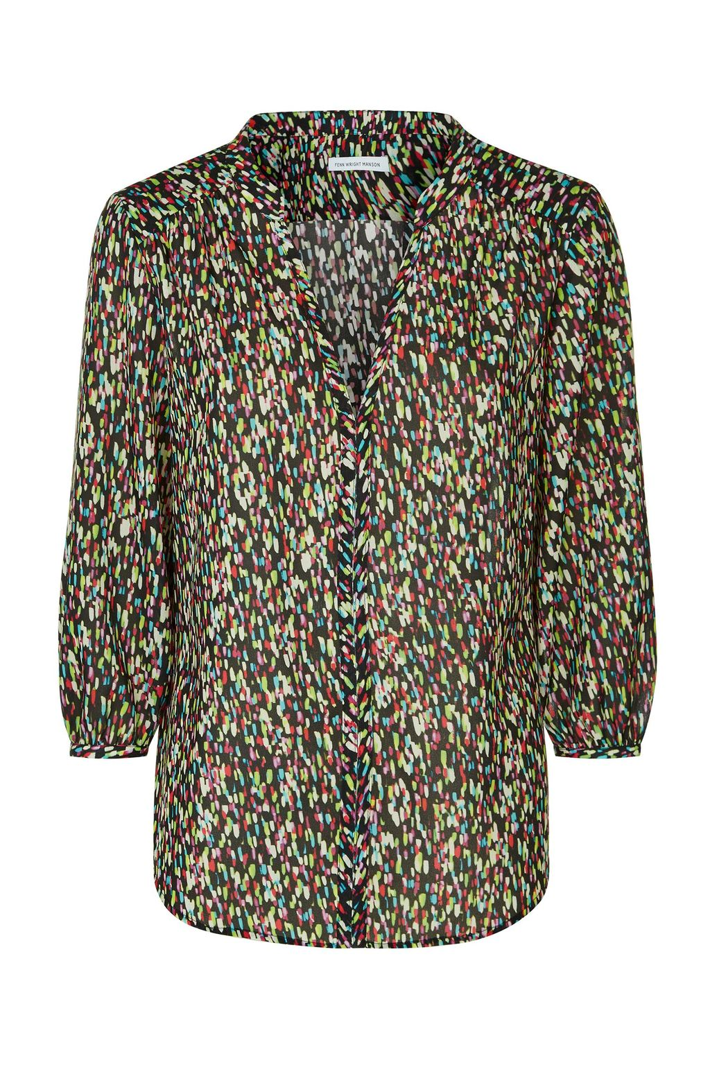 Martinique Top, Multi Coloured - neckline: low v-neck; length: below the bottom; style: blouse; secondary colour: pistachio; predominant colour: black; occasions: casual, creative work; fibres: polyester/polyamide - 100%; fit: body skimming; sleeve length: 3/4 length; sleeve style: standard; texture group: sheer fabrics/chiffon/organza etc.; pattern type: fabric; pattern size: light/subtle; pattern: patterned/print; multicoloured: multicoloured; season: a/w 2015; wardrobe: highlight