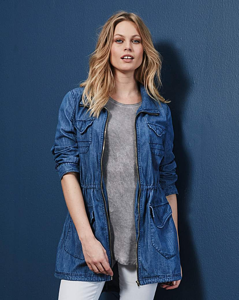 Denim Parka - pattern: plain; length: below the bottom; collar: funnel; style: parka; predominant colour: denim; occasions: casual; fit: straight cut (boxy); fibres: viscose/rayon - stretch; sleeve length: long sleeve; sleeve style: standard; texture group: denim; collar break: high/illusion of break when open; pattern type: fabric; season: a/w 2015