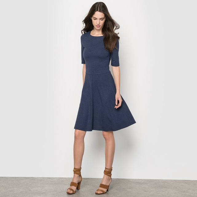 Short Sleeved Skater Dress - neckline: round neck; pattern: plain; predominant colour: navy; occasions: evening; length: just above the knee; fit: fitted at waist & bust; style: fit & flare; fibres: viscose/rayon - stretch; sleeve length: half sleeve; sleeve style: standard; pattern type: fabric; texture group: jersey - stretchy/drapey; season: a/w 2015; wardrobe: event