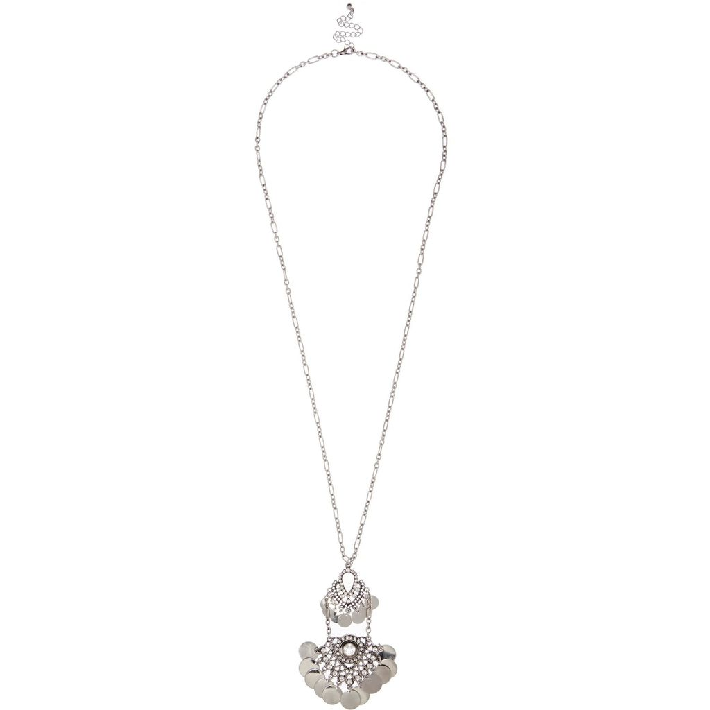 Womens Silver Tone Coin Pendant Necklace - predominant colour: silver; occasions: casual, creative work; style: pendant; length: mid; size: standard; material: chain/metal; finish: metallic; embellishment: chain/metal; season: a/w 2015