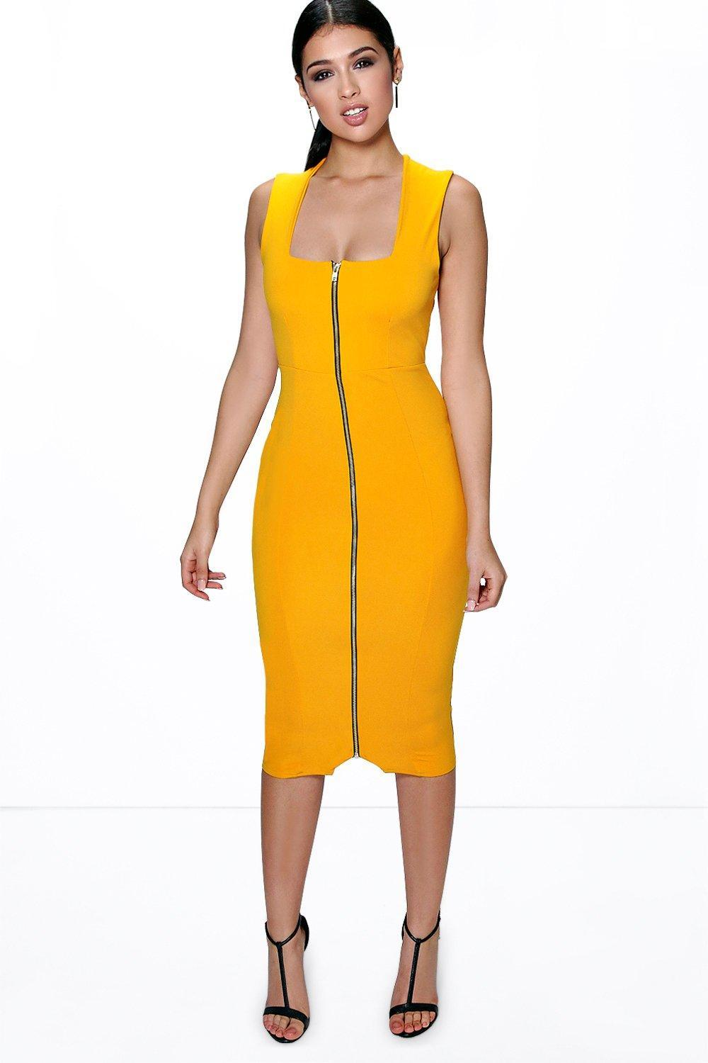 Square Neck Zip Front Midi Bodycon Dress Ochre - length: below the knee; fit: tailored/fitted; pattern: plain; sleeve style: sleeveless; style: bodycon; hip detail: fitted at hip; predominant colour: yellow; occasions: evening; fibres: polyester/polyamide - stretch; sleeve length: sleeveless; texture group: jersey - clingy; neckline: low square neck; pattern type: fabric; embellishment: zips; season: a/w 2015
