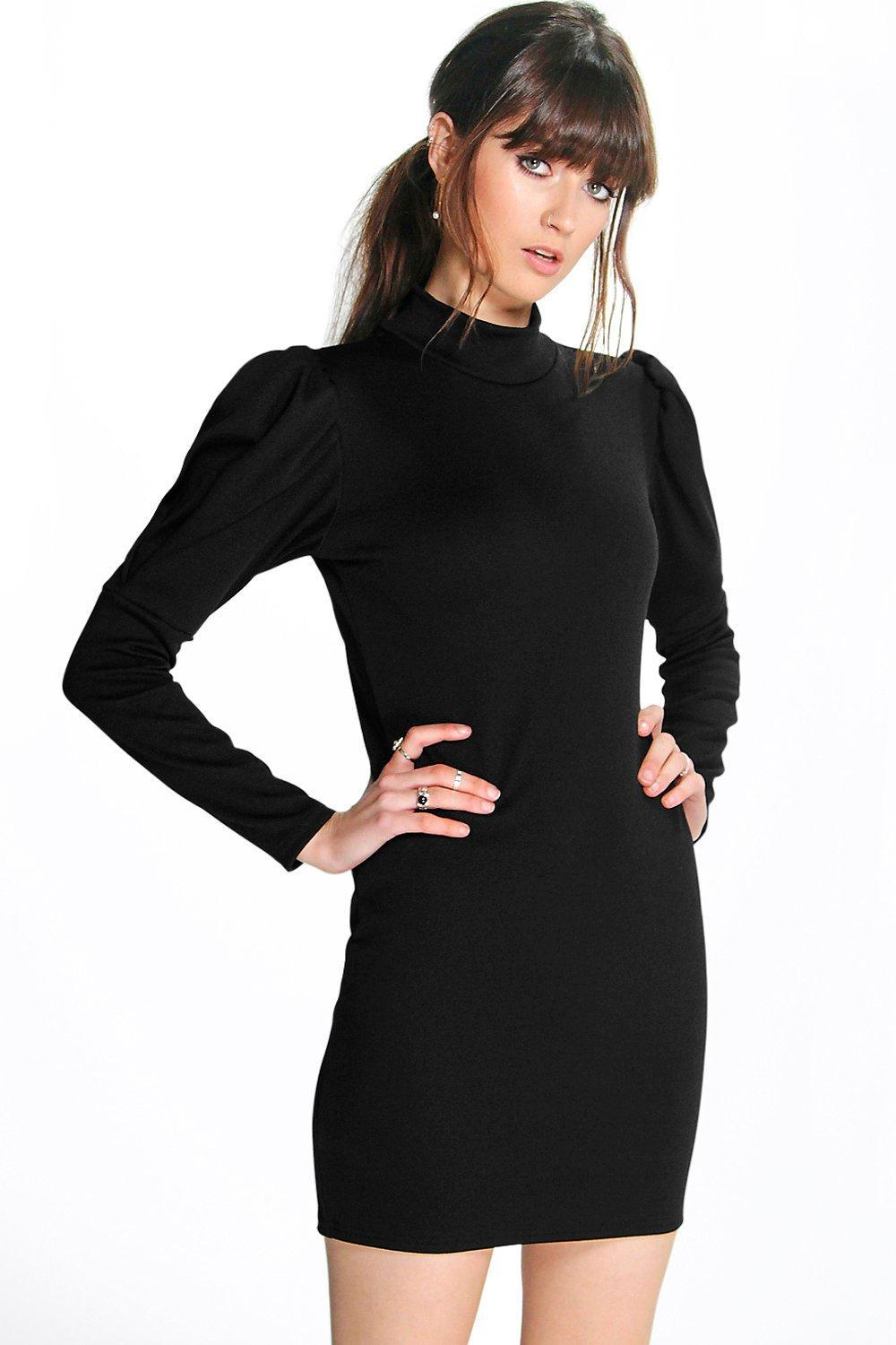 Puff Sleeve High Neck Bodycon Dress Poppy - length: mid thigh; fit: tight; pattern: plain; style: bodycon; neckline: roll neck; hip detail: fitted at hip; predominant colour: black; occasions: evening; fibres: polyester/polyamide - stretch; sleeve length: long sleeve; sleeve style: standard; texture group: jersey - clingy; pattern type: fabric; season: a/w 2015