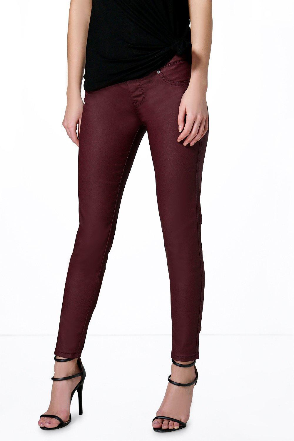 Pull On Leather Look Jeggings Berry - pattern: plain; waist: mid/regular rise; predominant colour: burgundy; length: ankle length; fibres: polyester/polyamide - stretch; texture group: leather; fit: slim leg; pattern type: fabric; style: standard; occasions: creative work; season: a/w 2015; wardrobe: highlight