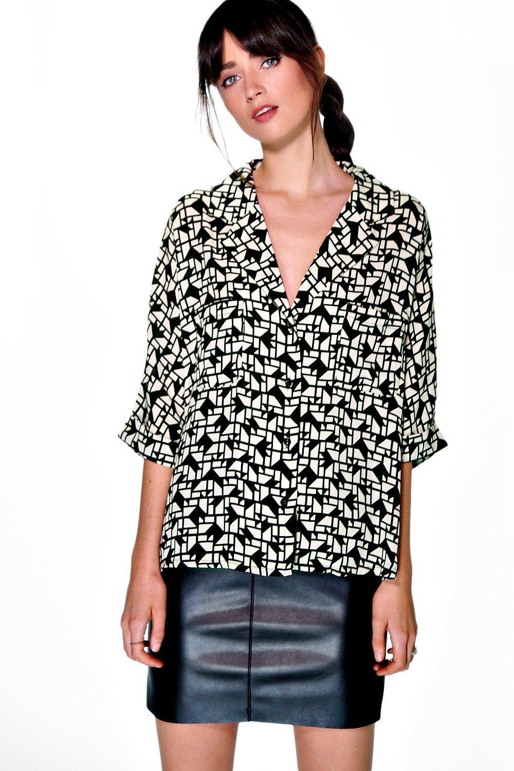 Printed Rever Collar Oversized Shirt Multi - neckline: v-neck; length: below the bottom; style: shirt; secondary colour: white; predominant colour: black; occasions: casual, creative work; fibres: polyester/polyamide - 100%; fit: straight cut; sleeve length: 3/4 length; sleeve style: standard; trends: monochrome; texture group: crepes; pattern type: fabric; pattern size: light/subtle; pattern: patterned/print; season: a/w 2015; wardrobe: highlight