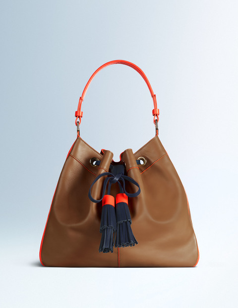 Abbey Bag Tan/Firecracker/Navy Women Boden, Tan/Firecracker/Navy - secondary colour: navy; predominant colour: tan; occasions: casual; type of pattern: standard; style: shoulder; length: shoulder (tucks under arm); size: standard; material: leather; embellishment: tassels; pattern: plain; finish: plain; multicoloured: multicoloured; season: a/w 2015; wardrobe: highlight