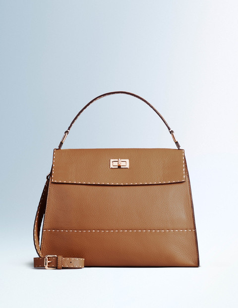 Amanda Bag Tan Women Boden, Tan - predominant colour: tan; occasions: casual, work, creative work; type of pattern: standard; style: shoulder; length: shoulder (tucks under arm); size: standard; material: leather; pattern: plain; finish: plain; embellishment: chain/metal; season: a/w 2015; wardrobe: highlight