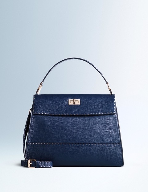 Amanda Bag Navy Women Boden, Navy - predominant colour: navy; occasions: casual, creative work; type of pattern: standard; style: shoulder; length: shoulder (tucks under arm); size: standard; material: leather; pattern: plain; finish: plain; season: a/w 2015; wardrobe: investment