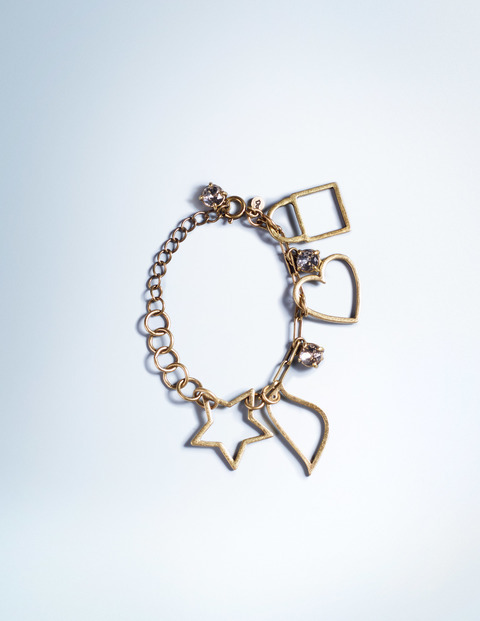 Charm Bracelet Antique Brass Women Boden, Antique Brass - predominant colour: gold; occasions: casual; style: charm; size: large/oversized; material: chain/metal; finish: metallic; season: a/w 2015; wardrobe: highlight