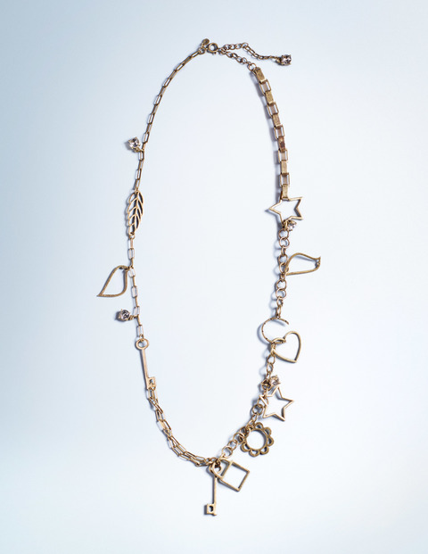 Charm Necklace Antique Brass Women Boden, Antique Brass - predominant colour: gold; occasions: evening, occasion; length: mid; size: large/oversized; material: chain/metal; finish: metallic; season: a/w 2015; style: chain (no pendant); wardrobe: event
