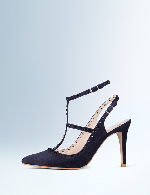 Ashley Heel Navy/Black Women, Navy/Black - predominant colour: navy; occasions: evening, occasion; material: suede; heel height: high; ankle detail: ankle strap; heel: stiletto; toe: pointed toe; style: t-bar; finish: plain; pattern: plain; season: a/w 2015; wardrobe: event