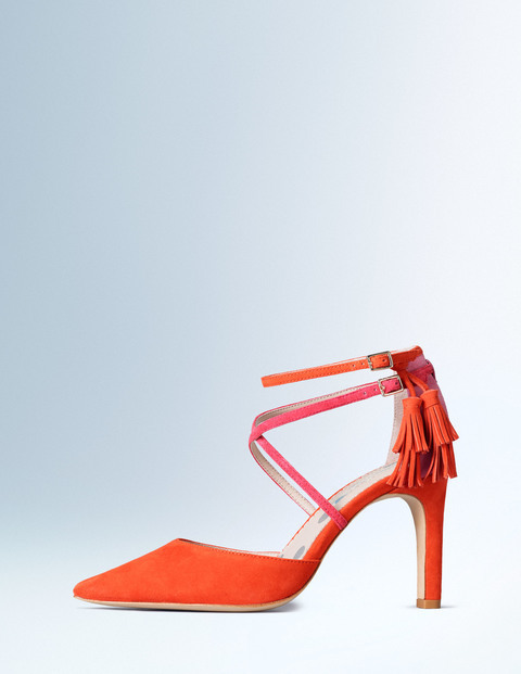 Amelia Heel Firecracker/Coral/Camellia Women, Firecracker/Coral/Camellia - predominant colour: bright orange; occasions: evening, occasion, creative work; material: suede; heel height: high; embellishment: tassels; ankle detail: ankle strap; heel: stiletto; toe: pointed toe; style: courts; finish: plain; pattern: plain; season: a/w 2015; wardrobe: highlight