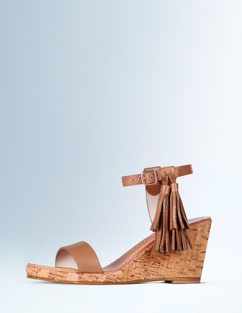 Tassel Wedge Tan Women, Tan - predominant colour: tan; occasions: casual; material: faux leather; heel height: high; embellishment: tassels; ankle detail: ankle strap; heel: wedge; toe: open toe/peeptoe; style: strappy; finish: plain; pattern: plain; season: a/w 2015; wardrobe: highlight