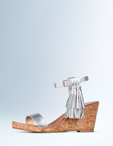 Tassel Wedge Silver Metallic Women, Silver Metallic - predominant colour: silver; occasions: casual, holiday; material: leather; heel height: high; embellishment: tassels; ankle detail: ankle strap; heel: wedge; toe: open toe/peeptoe; style: slides; finish: metallic; pattern: plain; shoe detail: platform; season: a/w 2015