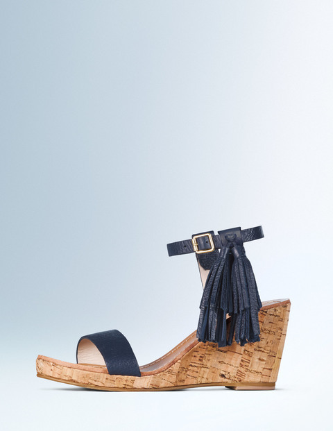 Tassel Wedge Navy Women, Navy - predominant colour: navy; occasions: casual, creative work; material: leather; heel height: high; embellishment: tassels; ankle detail: ankle strap; heel: wedge; toe: open toe/peeptoe; style: standard; finish: plain; pattern: plain; shoe detail: platform; season: a/w 2015; wardrobe: highlight