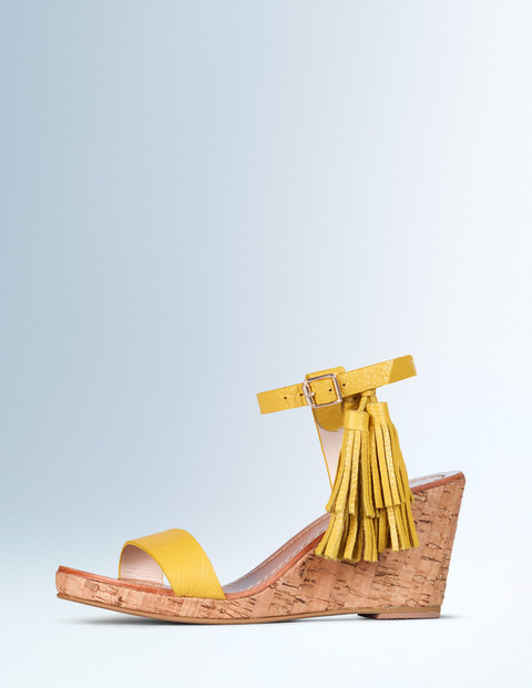 Tassel Wedge Mustard Women, Mustard - predominant colour: mustard; occasions: casual, creative work; material: leather; heel height: high; embellishment: tassels; ankle detail: ankle strap; heel: wedge; toe: open toe/peeptoe; style: strappy; finish: plain; pattern: plain; shoe detail: platform; season: a/w 2015; wardrobe: highlight