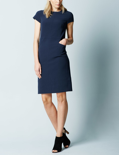 Cari Stitch Workwear Dress Navy Women, Navy - style: shift; fit: tailored/fitted; pattern: plain; predominant colour: navy; occasions: evening; length: just above the knee; fibres: polyester/polyamide - stretch; neckline: crew; hip detail: subtle/flattering hip detail; sleeve length: short sleeve; sleeve style: standard; texture group: cotton feel fabrics; pattern type: fabric; season: a/w 2015; wardrobe: event