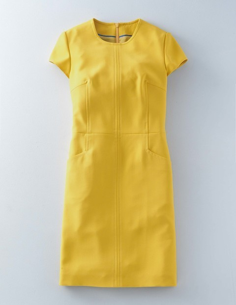 Cari Stitch Workwear Dress Mimosa Women, Mimosa - style: shift; sleeve style: capped; pattern: plain; predominant colour: yellow; occasions: evening; length: just above the knee; fit: body skimming; fibres: polyester/polyamide - stretch; neckline: crew; sleeve length: short sleeve; texture group: cotton feel fabrics; pattern type: fabric; season: a/w 2015; wardrobe: event