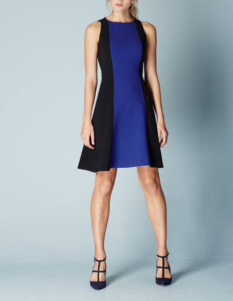 Audrey Shift Workwear Dress Renaissance Blue/Black Women, Renaissance Blue/Black - sleeve style: sleeveless; predominant colour: royal blue; secondary colour: royal blue; occasions: evening, occasion; length: just above the knee; fit: soft a-line; style: fit & flare; fibres: polyester/polyamide - stretch; neckline: crew; sleeve length: sleeveless; pattern type: fabric; pattern size: big & busy; pattern: colourblock; texture group: woven light midweight; season: a/w 2015; wardrobe: event