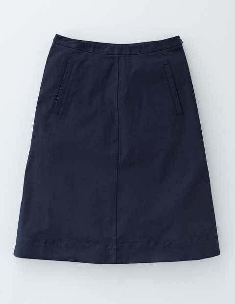 Chino Skirt Navy Women, Navy - pattern: plain; fit: loose/voluminous; waist: high rise; predominant colour: navy; occasions: casual, creative work; length: just above the knee; style: a-line; fibres: cotton - 100%; texture group: cotton feel fabrics; pattern type: fabric; season: a/w 2015; wardrobe: basic