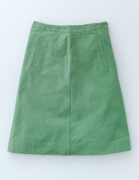 Chino Skirt Chalky Green Women, Chalky Green - length: mid thigh; pattern: plain; fit: loose/voluminous; waist: mid/regular rise; predominant colour: emerald green; occasions: casual; style: a-line; fibres: cotton - stretch; pattern type: fabric; texture group: other - light to midweight; season: a/w 2015; wardrobe: highlight