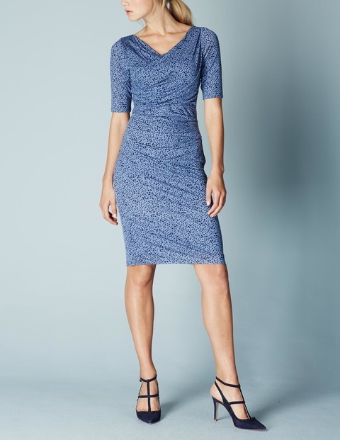 Rita Ruched Summer Dress Iris Modern Spot Women, Iris Modern Spot - neckline: v-neck; fit: tight; pattern: plain; style: bodycon; predominant colour: denim; occasions: evening; length: on the knee; fibres: viscose/rayon - stretch; sleeve length: half sleeve; sleeve style: standard; texture group: jersey - clingy; pattern type: fabric; season: a/w 2015; wardrobe: event