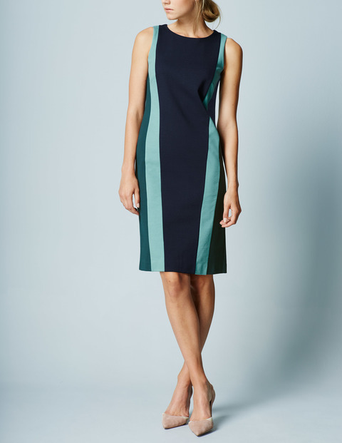Colourblock Ponte Shift Navy/Mallard Green Women, Navy/Mallard Green - style: shift; sleeve style: sleeveless; predominant colour: navy; occasions: evening, work, occasion; length: just above the knee; fit: straight cut; fibres: cotton - mix; neckline: crew; sleeve length: sleeveless; pattern type: fabric; pattern: patterned/print; texture group: woven light midweight; multicoloured: multicoloured; season: a/w 2015; wardrobe: highlight