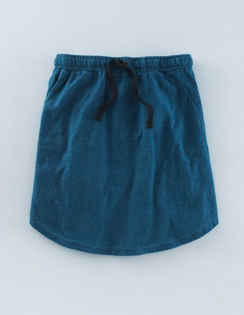 Peggy Skirt Indigo Women, Indigo - length: mid thigh; pattern: plain; fit: loose/voluminous; waist detail: belted waist/tie at waist/drawstring; waist: mid/regular rise; predominant colour: teal; occasions: casual, creative work; style: a-line; fibres: cotton - 100%; pattern type: fabric; texture group: jersey - stretchy/drapey; season: a/w 2015; wardrobe: highlight