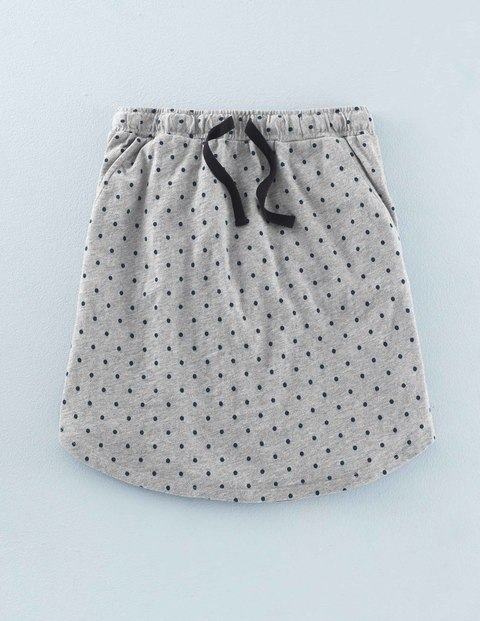 Peggy Skirt Grey Marl/Navy Small Spot Women, Grey Marl/Navy Small Spot - length: mid thigh; fit: body skimming; pattern: polka dot; waist detail: belted waist/tie at waist/drawstring; waist: mid/regular rise; predominant colour: light grey; secondary colour: black; occasions: casual; style: mini skirt; fibres: cotton - 100%; pattern type: fabric; texture group: other - light to midweight; multicoloured: multicoloured; season: a/w 2015; wardrobe: highlight