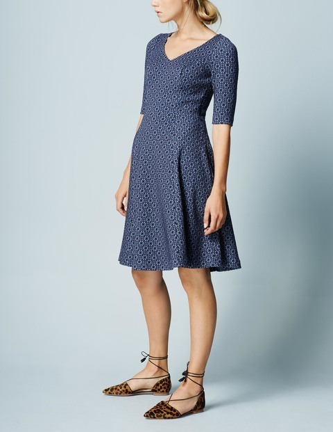 Floral Jacquard Summer Dress Navy/Iris Flower Jacquard Women, Navy/Iris Flower Jacquard - neckline: v-neck; secondary colour: white; predominant colour: navy; occasions: evening; length: on the knee; fit: fitted at waist & bust; style: fit & flare; fibres: polyester/polyamide - stretch; sleeve length: half sleeve; sleeve style: standard; pattern type: fabric; pattern: florals; texture group: brocade/jacquard; season: a/w 2015; wardrobe: event