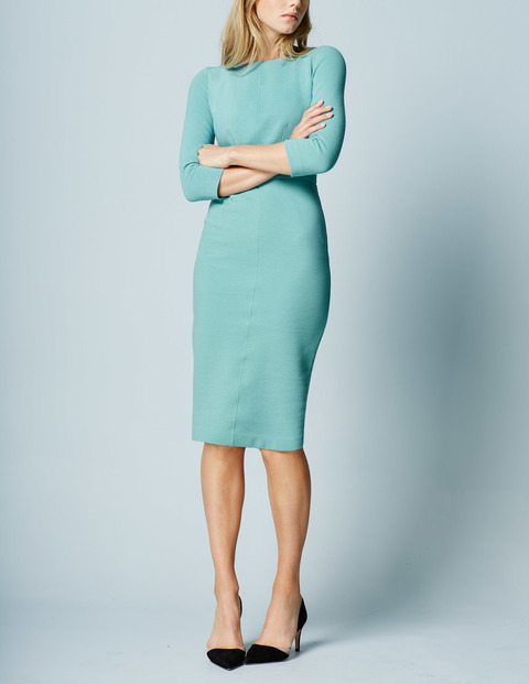 Aurelia Ottoman Work Dress Oxygen Women, Oxygen - style: shift; length: below the knee; pattern: plain; predominant colour: pale blue; occasions: evening; fit: body skimming; fibres: cotton - stretch; neckline: crew; sleeve length: 3/4 length; sleeve style: standard; pattern type: fabric; texture group: jersey - stretchy/drapey; season: a/w 2015; wardrobe: event
