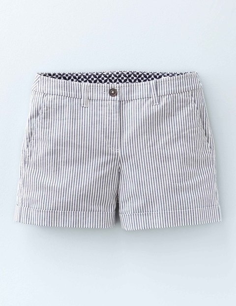 Chino Shorts Ticking Stripe Women, Ticking Stripe - pattern: striped; waist: mid/regular rise; secondary colour: white; predominant colour: light grey; occasions: casual; fibres: cotton - stretch; pattern type: fabric; texture group: woven light midweight; pattern size: standard (bottom); season: a/w 2015; style: shorts; length: short shorts; fit: slim leg; wardrobe: highlight