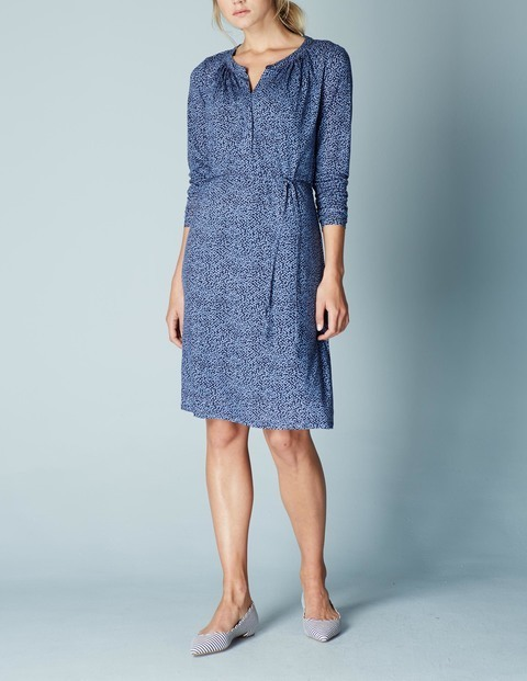 Audrey Summer Dress Blue Geo Women, Blue Geo - style: tunic; neckline: v-neck; predominant colour: denim; secondary colour: denim; occasions: casual, creative work; length: just above the knee; fit: straight cut; fibres: cotton - mix; sleeve length: 3/4 length; sleeve style: standard; pattern type: fabric; pattern size: light/subtle; pattern: patterned/print; texture group: woven light midweight; season: a/w 2015; wardrobe: highlight