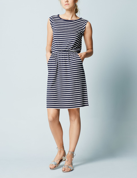 Blackberry Summer Dress Navy/Ivory Women, Navy/Ivory - style: shift; length: mid thigh; neckline: round neck; fit: fitted at waist; pattern: horizontal stripes; sleeve style: sleeveless; waist detail: elasticated waist; secondary colour: white; predominant colour: navy; occasions: casual; fibres: cotton - stretch; sleeve length: sleeveless; pattern type: fabric; texture group: jersey - stretchy/drapey; season: a/w 2015; wardrobe: basic