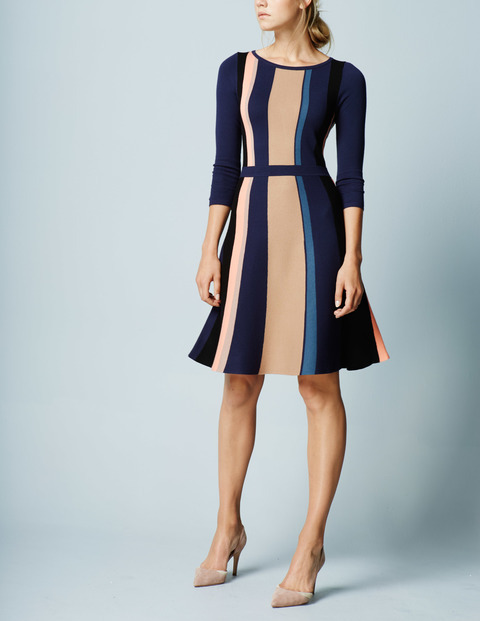 Beatrice Knitted Work Dress Navy Stripe Women, Navy Stripe - style: shift; neckline: round neck; predominant colour: navy; secondary colour: nude; occasions: evening; length: just above the knee; fit: soft a-line; sleeve length: 3/4 length; sleeve style: standard; pattern type: fabric; pattern: patterned/print; texture group: jersey - stretchy/drapey; fibres: viscose/rayon - mix; multicoloured: multicoloured; season: a/w 2015