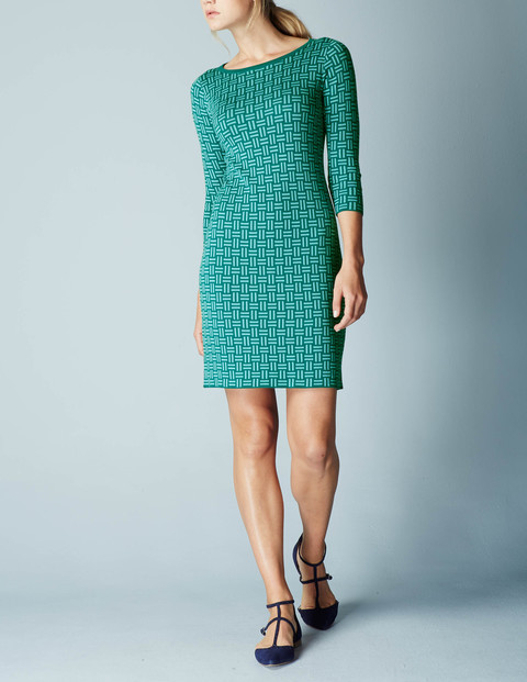 Jacquard Knitted Tunic Dress Kelp/Oxygen Blue Women, Kelp/Oxygen Blue - style: tunic; length: mid thigh; neckline: round neck; predominant colour: emerald green; occasions: casual, creative work; fit: straight cut; fibres: cotton - mix; sleeve length: 3/4 length; sleeve style: standard; texture group: knits/crochet; pattern type: fabric; pattern size: standard; pattern: patterned/print; season: a/w 2015; wardrobe: highlight