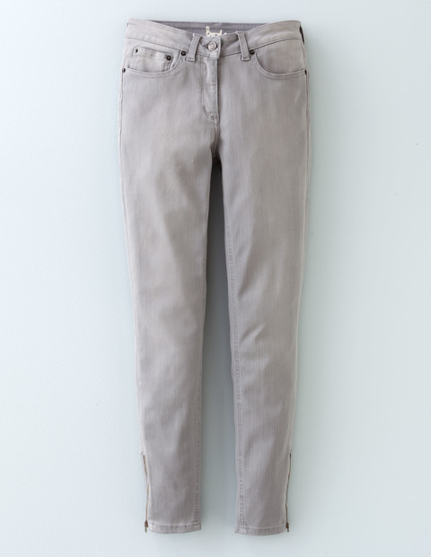 Zip Ankle Skimmer Grey Women, Grey - pattern: plain; pocket detail: traditional 5 pocket; waist: mid/regular rise; predominant colour: light grey; occasions: casual; length: ankle length; fibres: cotton - 100%; fit: straight leg; pattern type: fabric; texture group: other - light to midweight; style: standard; season: a/w 2015