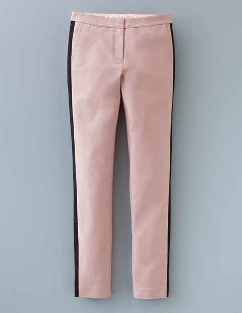 Twickenham Trouser Rose Quartz & Black Women, Rose Quartz & Black - waist: mid/regular rise; predominant colour: pink; secondary colour: black; occasions: casual, creative work; length: ankle length; fibres: cotton - 100%; waist detail: feature waist detail; texture group: cotton feel fabrics; fit: slim leg; pattern type: fabric; pattern: colourblock; style: standard; pattern size: standard (bottom); season: a/w 2015; wardrobe: highlight