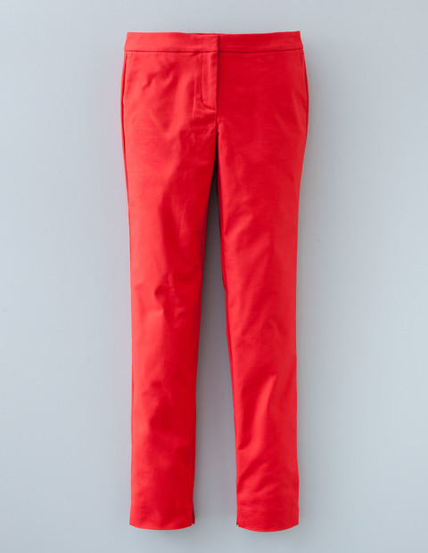 Twickenham Trouser Poppy Red Women, Poppy Red - length: standard; pattern: plain; waist: mid/regular rise; predominant colour: true red; occasions: casual, creative work; fibres: cotton - stretch; texture group: cotton feel fabrics; fit: slim leg; pattern type: fabric; style: standard; season: a/w 2015; wardrobe: highlight