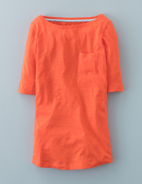 Long Lightweight Boatneck Firecracker Women, Firecracker - pattern: plain; style: t-shirt; predominant colour: bright orange; occasions: casual; length: standard; fibres: cotton - 100%; fit: body skimming; neckline: crew; sleeve length: short sleeve; sleeve style: standard; pattern type: fabric; texture group: jersey - stretchy/drapey; season: a/w 2015; wardrobe: highlight