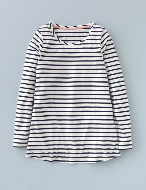 Supersoft Swing Top Ivory/Navy Women, Ivory/Navy - pattern: horizontal stripes; secondary colour: white; predominant colour: navy; occasions: casual; length: standard; style: top; fibres: cotton - mix; fit: body skimming; neckline: crew; sleeve length: long sleeve; sleeve style: standard; pattern type: fabric; texture group: jersey - stretchy/drapey; multicoloured: multicoloured; season: a/w 2015