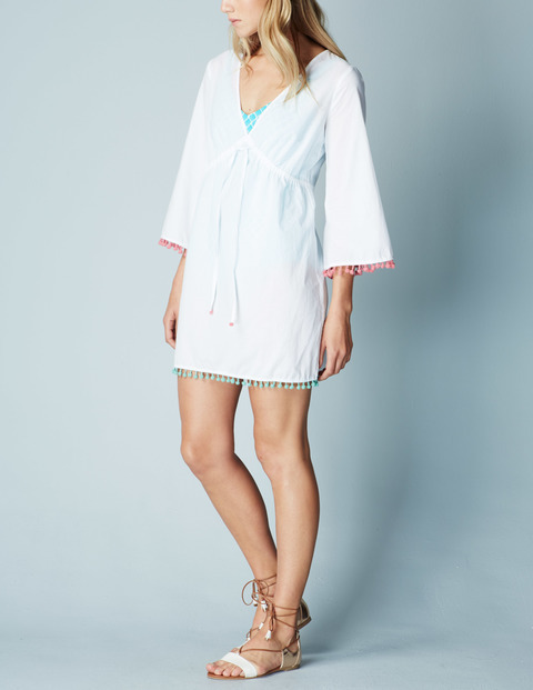 Pom Pom Beach Kaftan White Women, White - style: tunic; length: mid thigh; neckline: low v-neck; fit: empire; pattern: plain; predominant colour: white; fibres: cotton - 100%; sleeve length: 3/4 length; sleeve style: standard; texture group: cotton feel fabrics; occasions: holiday; pattern type: fabric; season: a/w 2015; wardrobe: holiday
