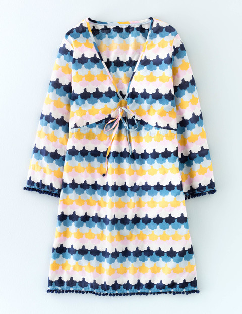Pom Pom Beach Kaftan Multi Scallop Geo Women, Multi Scallop Geo - length: mid thigh; neckline: low v-neck; style: kaftan; predominant colour: royal blue; secondary colour: yellow; fit: straight cut; fibres: cotton - 100%; sleeve length: 3/4 length; sleeve style: standard; texture group: cotton feel fabrics; occasions: holiday; pattern type: fabric; pattern: patterned/print; multicoloured: multicoloured; season: a/w 2015; wardrobe: holiday