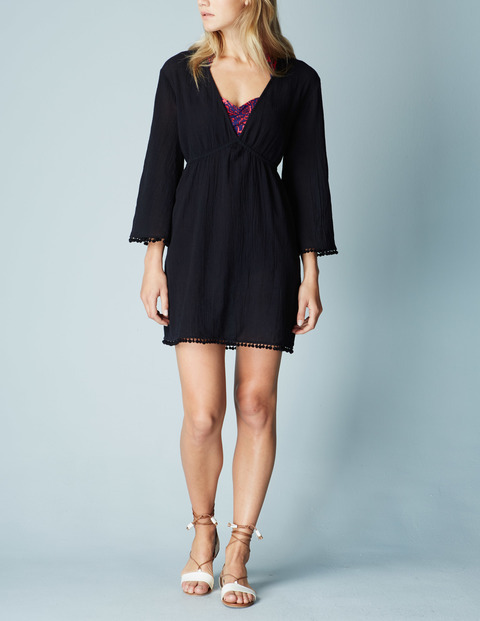 Pom Pom Beach Kaftan Black Women, Black - style: tunic; length: mid thigh; neckline: low v-neck; fit: empire; pattern: plain; predominant colour: black; occasions: casual, holiday; fibres: cotton - 100%; sleeve length: 3/4 length; sleeve style: standard; texture group: cotton feel fabrics; pattern type: fabric; season: a/w 2015; wardrobe: basic