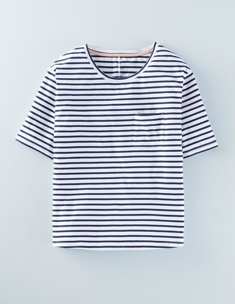 Supersoft Boxy Tee Ivory/Navy Women, Ivory/Navy - pattern: horizontal stripes; style: t-shirt; secondary colour: white; predominant colour: navy; occasions: casual; length: standard; fibres: cotton - stretch; fit: straight cut; neckline: crew; sleeve length: short sleeve; sleeve style: standard; pattern type: fabric; pattern size: standard; texture group: jersey - stretchy/drapey; season: a/w 2015