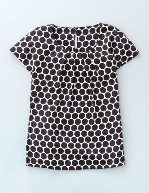 Ravello Top Black Simple Spot Women, Black Simple Spot - neckline: round neck; sleeve style: capped; pattern: polka dot; secondary colour: white; predominant colour: black; occasions: casual; length: standard; style: top; fibres: silk - mix; fit: body skimming; sleeve length: short sleeve; pattern type: fabric; pattern size: standard; texture group: other - light to midweight; multicoloured: multicoloured; season: a/w 2015; wardrobe: highlight