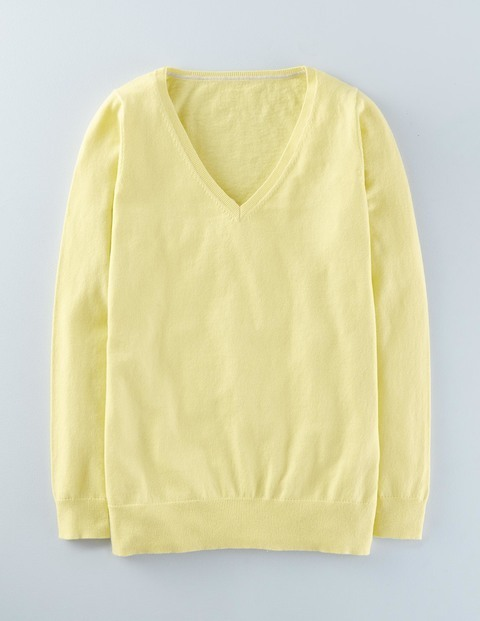 Everyday Relaxed V Jumper Lemon Sorbet Women, Lemon Sorbet - neckline: v-neck; pattern: plain; style: standard; predominant colour: primrose yellow; occasions: casual; length: standard; fibres: cotton - mix; fit: slim fit; sleeve length: long sleeve; sleeve style: standard; texture group: knits/crochet; pattern type: fabric; season: a/w 2015; wardrobe: highlight