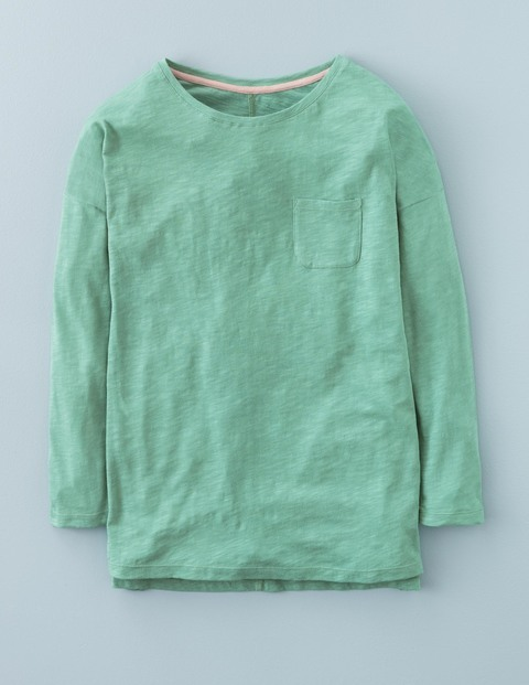 Long Lightweight Drop Shoulder Chalky Green Women, Chalky Green - neckline: round neck; pattern: plain; predominant colour: pistachio; occasions: casual; length: standard; style: top; fibres: cotton - 100%; fit: straight cut; sleeve length: long sleeve; sleeve style: standard; pattern type: fabric; texture group: jersey - stretchy/drapey; season: a/w 2015; wardrobe: highlight