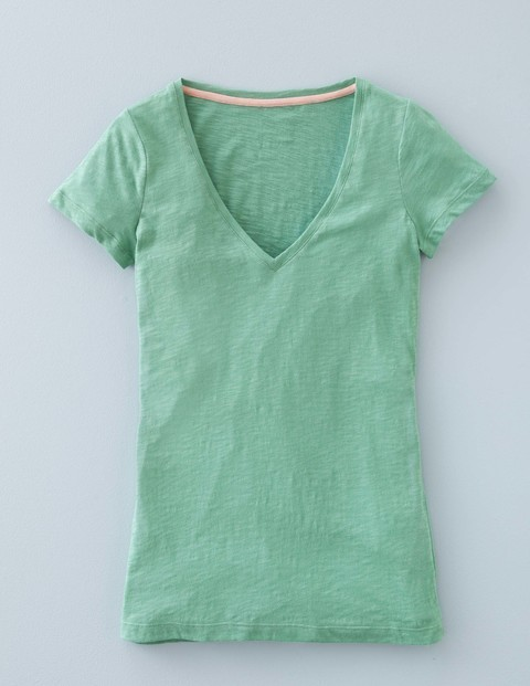 Long Lightweight Deep V Neck Chalky Green Women, Chalky Green - neckline: v-neck; pattern: plain; style: t-shirt; predominant colour: pistachio; occasions: casual; length: standard; fibres: cotton - 100%; fit: body skimming; sleeve length: short sleeve; sleeve style: standard; pattern type: fabric; texture group: jersey - stretchy/drapey; season: a/w 2015; wardrobe: highlight